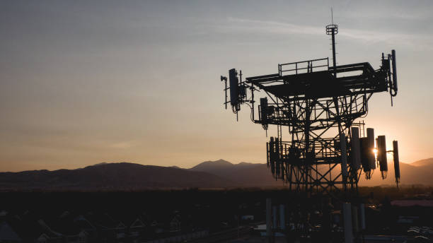 Drone image of a 5G wireless Communication tower
